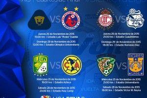 partidos de los cuartos de final de la Liga MX 2015 noviembre